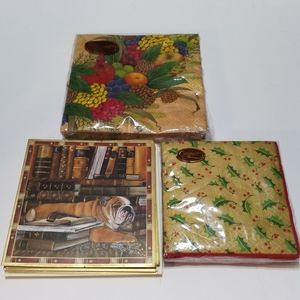 Caspari Bulldog Cards, Wreath and Holly Napkins